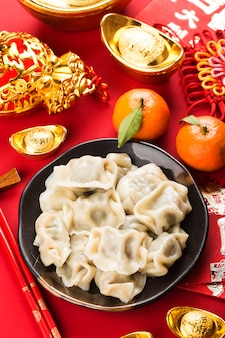 Dumplings for chinese spring festival chinese grande bénédiction chanceuse