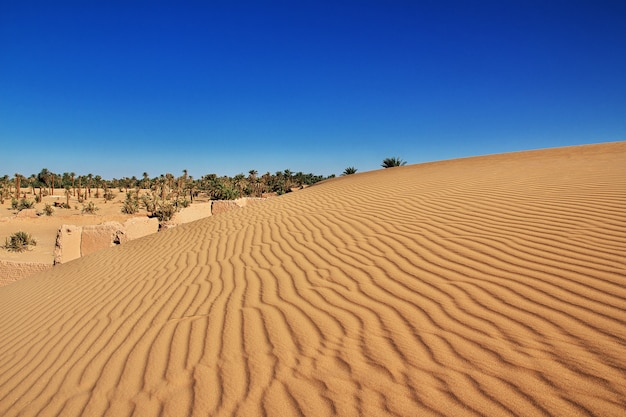 Dunes de timimun ville abandonnée dans le désert du sahara, algérie