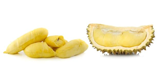 Durain fruit isolé sur fond blanc