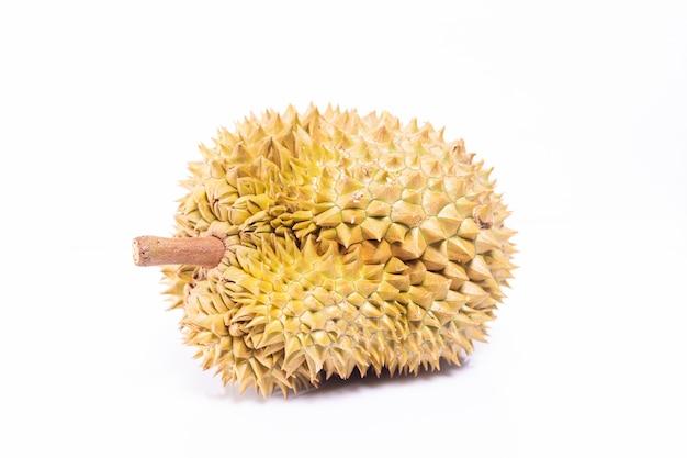 Durian isole sur fond blanc.