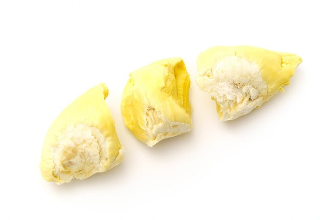 Durian roi de fruits sur fond blanc.