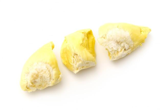 Durian roi de fruits sur fond blanc.