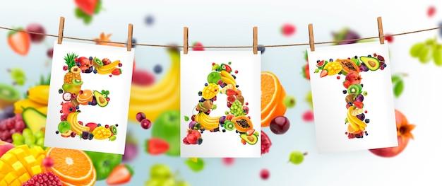 Eat mot isolé sur bokeh, concept d'aliments sains