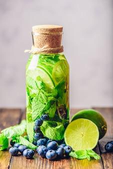 Eau aromatisée au citron vert, menthe et myrtille
