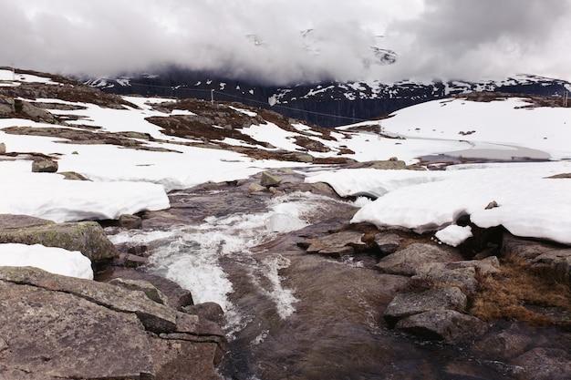 L'eau coule entre les rochers couverts de neige