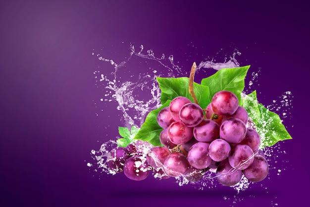 Eau éclaboussant sur les raisins rouges frais sur violet