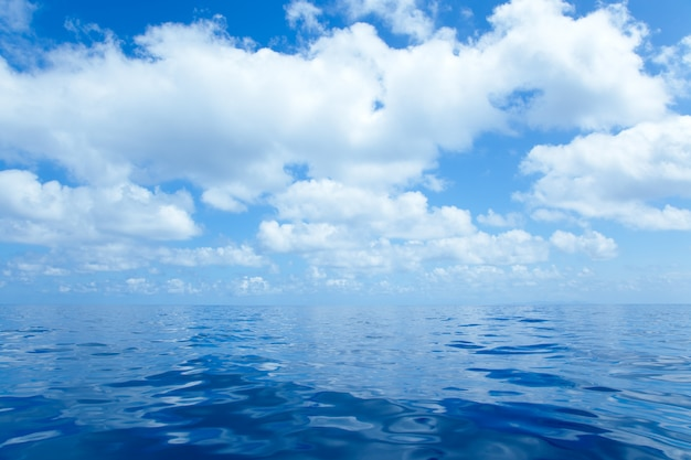Eau de mer bleue calme avec surface de miroir de nuages