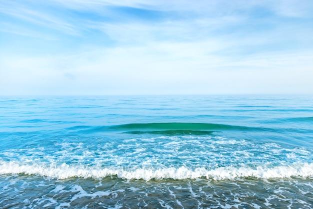 Eau de mer bleue avec des vagues, de la mousse et des nuages blancs dans le ciel. paysage tropical calme