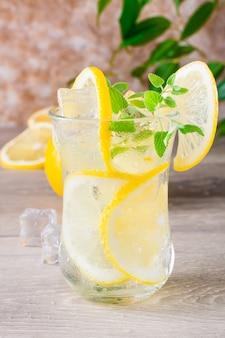 Eau minérale rafraîchissante au citron et à la menthe