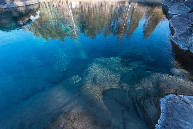 Eau pure cristalline du lac bleu