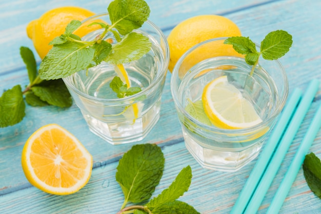 Eau rafraîchissante au citron et à la menthe