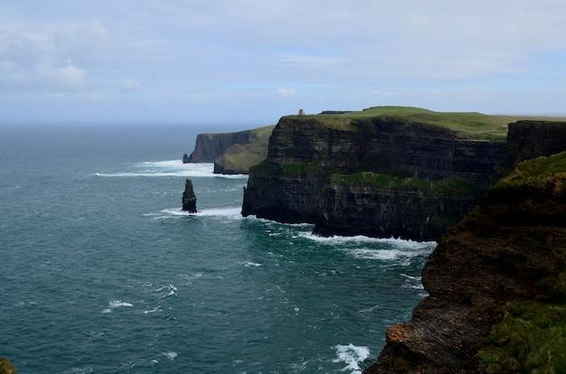 Des eaux d'un bleu profond s'écrasent sur les falaises de moher