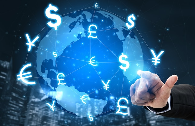 Échange de devises global foreign money finance - marché international des changes avec différentes conversions de symboles de devises mondiales