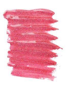 Échantillon de gouttes de vernis à ongles rose (émail), isolé sur blanc