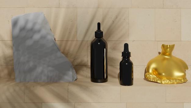 Échantillon de produits de salle de bain sur fond carrelé pour échantillon de produits de parfumerie et de salle de bain.
