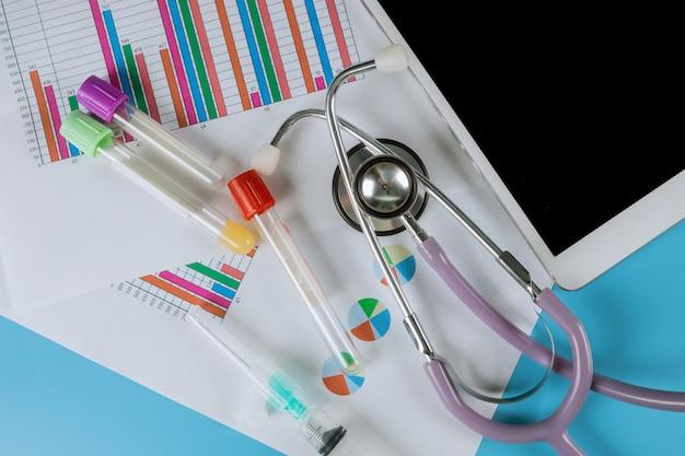 Echantillons d'un labarotoire utilisé en médecine sur tablette informatique