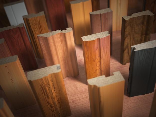 Échantillons de meubles en bois profilés mdf, différents panneaux de fibres de moyenne densité. illustration 3d