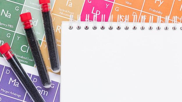 Des échantillons de sang sur des éléments chimiques à côté du bloc-notes vide