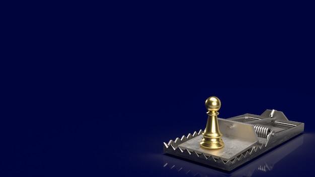 Les échecs d'or sur le piège pour le rendu 3d du concept d'entreprise