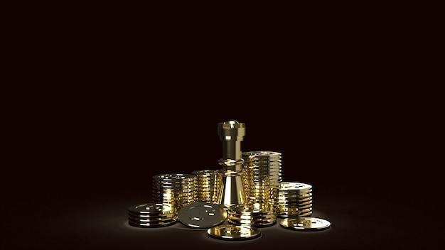 Échecs et pièces d'or image abstraite rendu 3d pour le contenu de l'entreprise