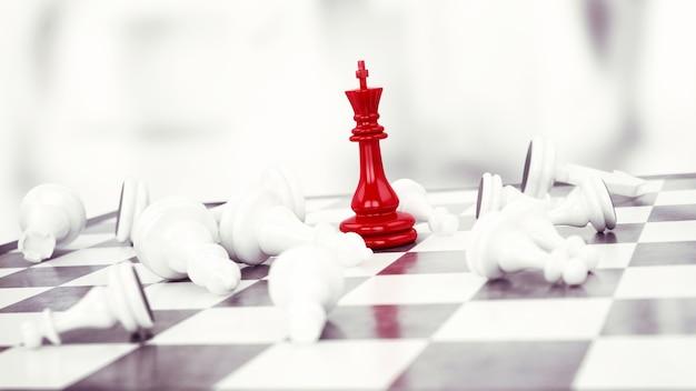 Les échecs des pions rouges gagnent contre les pions blancs