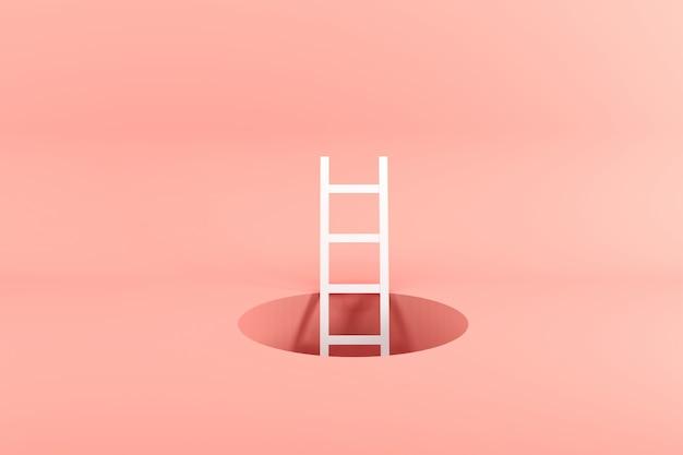 Échelle blanche exceptionnelle debout à l'intérieur du trou rose