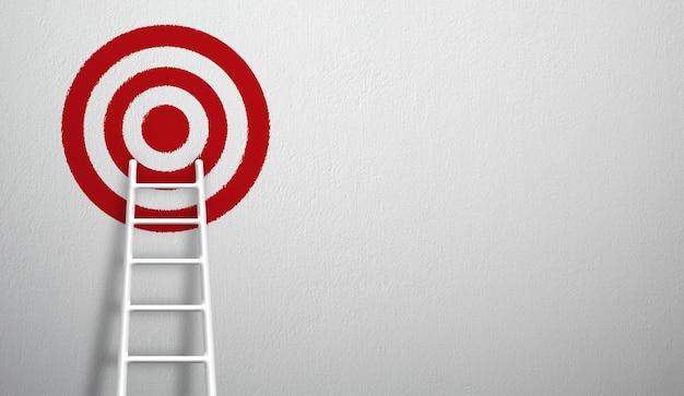 Échelle blanche la plus longue qui grandit pour viser haut pour atteindre la cible. illustration 3d