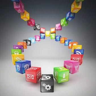 Échelle faite de cubes et d'icônes de couleurs différentes