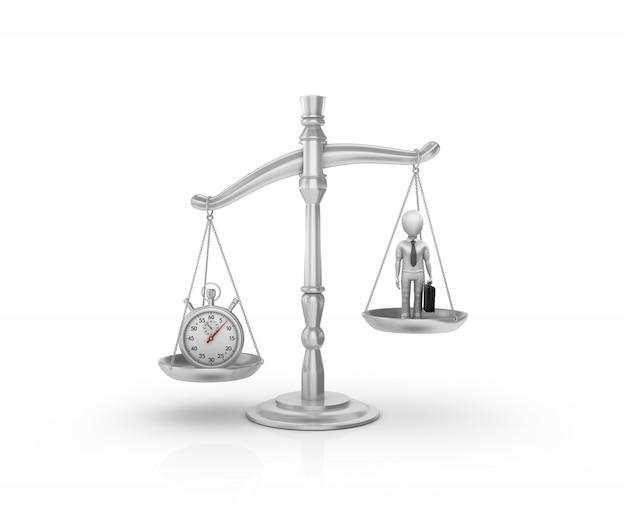 Échelle de poids légal avec chronomètre et homme d'affaires de dessin animé