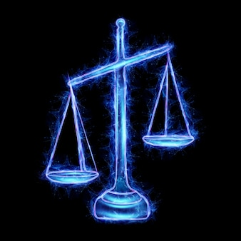 Échelles de l'hologramme de la justice isolé sur fond noir. concept de jugement, tribunal, pouvoir judiciaire. rendu 3d, illustration 3d.