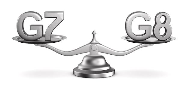 Échelles et signe g7, g8 sur un espace blanc