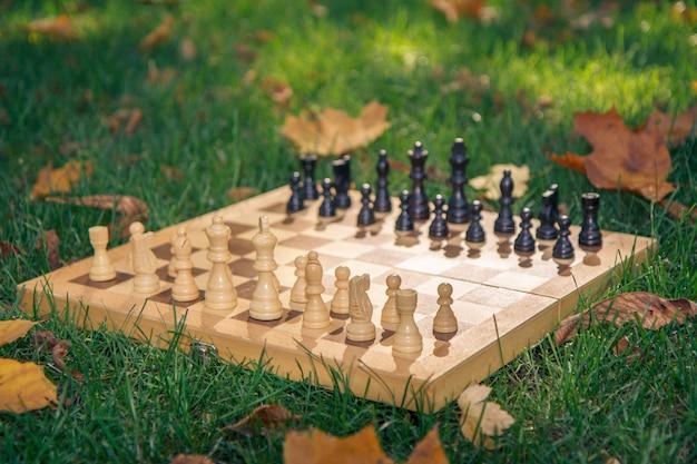 Échiquier en bois et pièces d'échecs sur l'herbe verte recouverte de feuilles jaunes sèches dans le parc de la ville. faible profondeur de champ. concentrez-vous sur les pièces blanches.