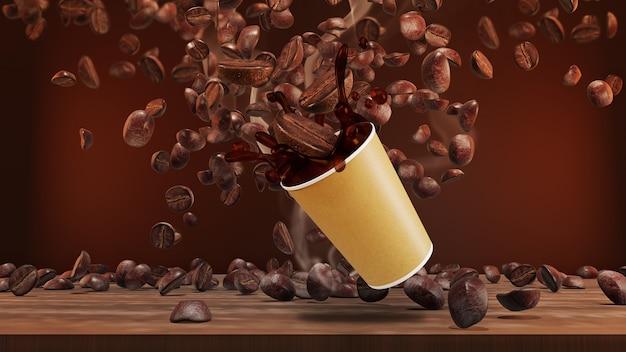 Éclaboussure de café noir dans une tasse. rendu 3d