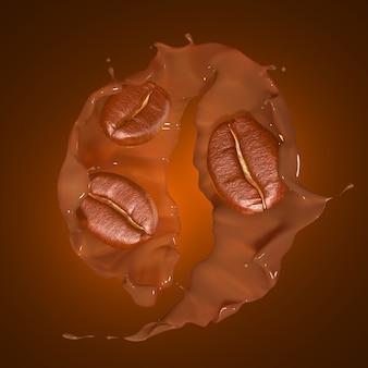 Éclaboussure de café rendu 3d à partir de grain de café sur le brun