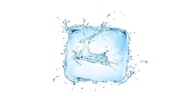 Éclaboussure d'eau avec forme de cerf isolé