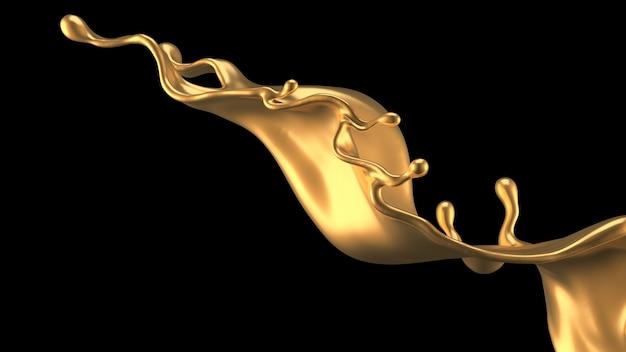 Éclaboussure élégante et luxueuse de liquide d'or. illustration 3d, rendu 3d.