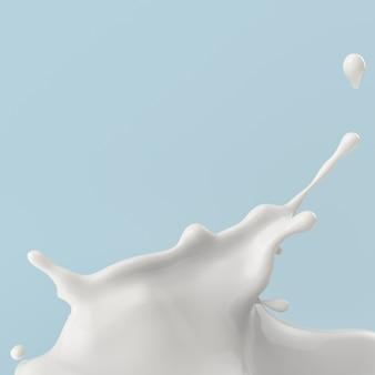 Éclaboussure de lait ou de yaourt, illustration 3d.
