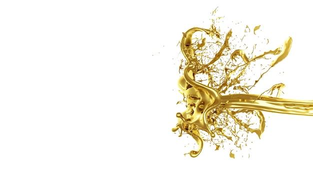 Une éclaboussure de liquide épais et doré. illustration 3d, rendu 3d.