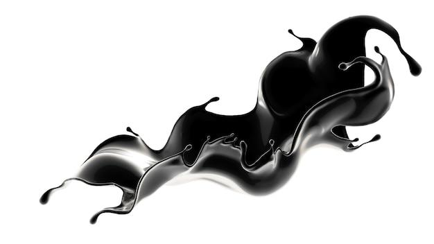 Éclaboussure de liquide noir. illustration 3d, rendu 3d.