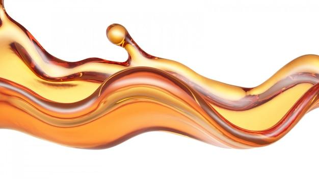 Éclaboussure d'un liquide orange transparent sur fond blanc. rendu 3d.