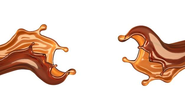 Éclaboussure de thé isolé sur fond blanc. illustration 3d, rendu 3d.
