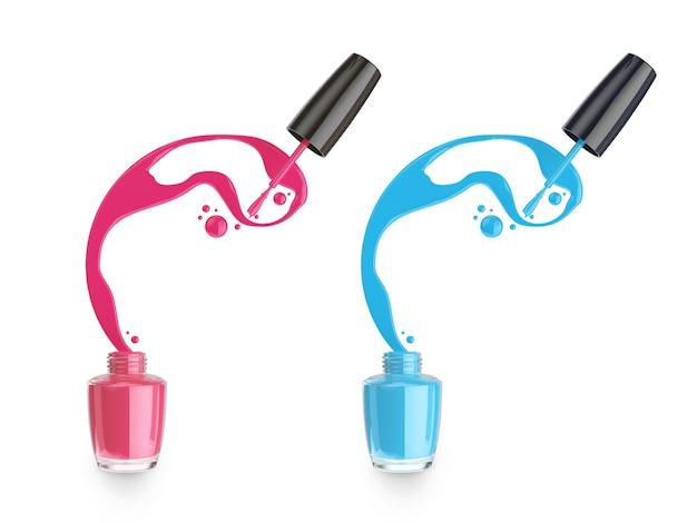 Éclaboussure de vernis à ongles liquide rose et bleu de la bouteille