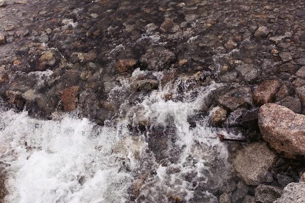 Éclaboussures d'eau contre les rochers