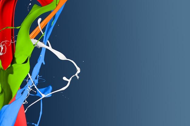 Éclaboussures de peinture colorées isolées sur fond bleu