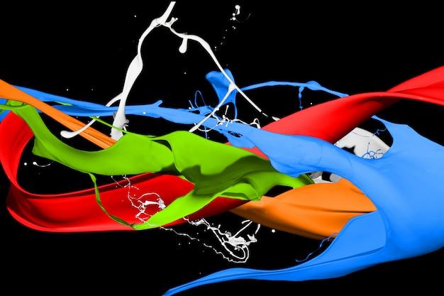 Éclaboussures de peinture colorées isolées sur fond noir