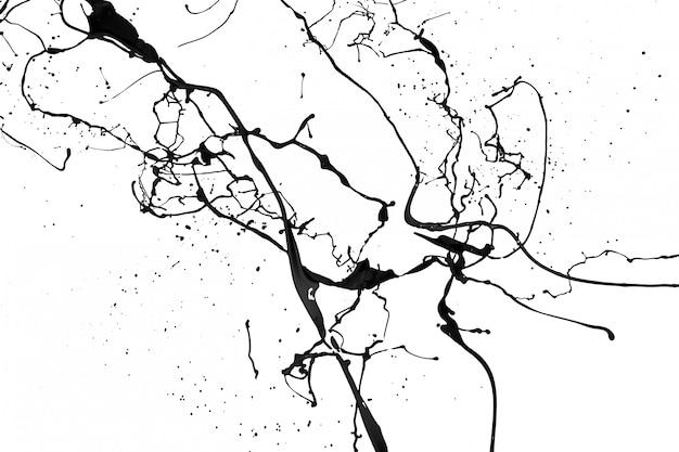 Éclaboussures de peinture noire isolé sur fond blanc