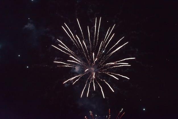 Un éclair de feu d'artifice blanc uni. dans le ciel nocturne pour n'importe quel but.