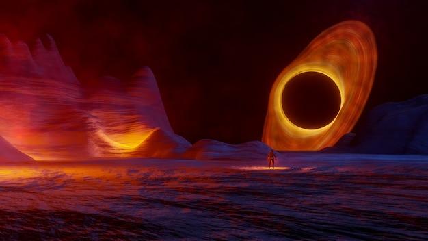 Eclairage volumétrique de la porte star de l'espace fantasy