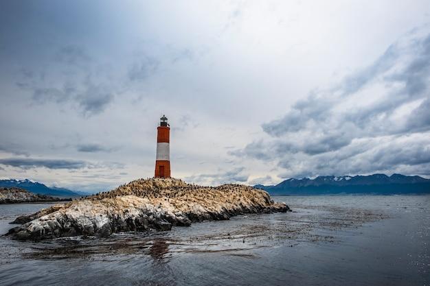 Eclaireus lighthouse ou end of the world lighthouse dans le canal beagle autour du phare sont de nombreux cormorans. ushuaia argentine