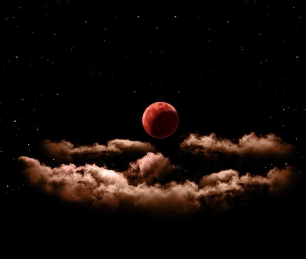 Éclipse lunaire ou sang de pleine lune avec des nuages